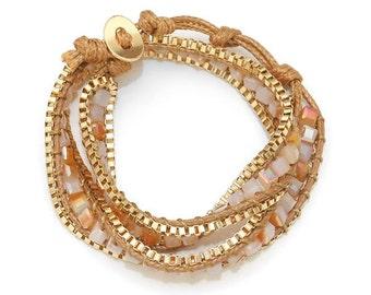 Gold & Brown Cord Glass Bead Coil Multi Wrap Bracelet