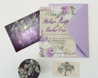 Weeping Willow Lavender Linen Printable Invitation