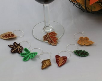 Fall Leaves Wine Charms, Leaf Wine Markers, Fall Wine Charms, Thanksgiving Wine Charms, Cute Wine Charms, 8 Charms