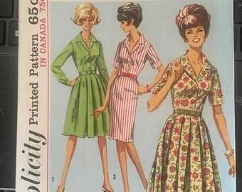 Vintage 60's Simplicity 5877 Shirtwaist Dress Pattern- Size 12 (32-25-34)