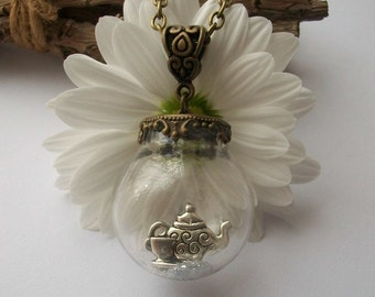 Afternoon Tea - Quirky glass orb necklace with teapot and cup and saucer. Globe