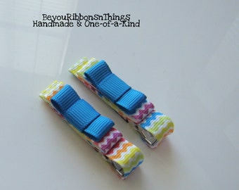 Chevron Hair Clips for Girls Toddler Barrette Kids Hair Accessories Grosgrain Ribbon No Slip Grip