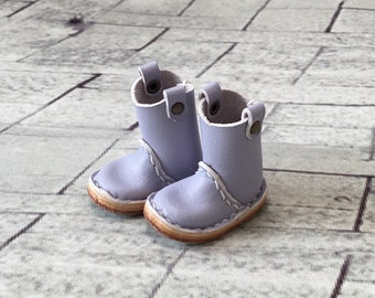 Real leather: miniature pecos boots [Lavender] (for blythe)