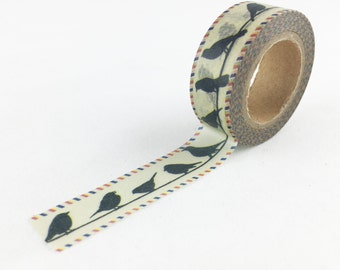 Vintage Background Bird on a Wire Washi Tape // 15mm // Paper Tape // BBBsupplies {CR-W-P384}