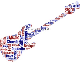 5x7 or A4 Size Personalised Guitar Word Art Print * Digital File Also Available*