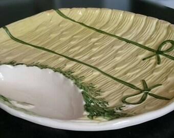 Vintage Majolica Asparagus Platter/ Made in Portugal