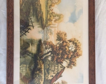 Vintage Framed Louis F. Dow Lithograph Print Rural House Scene