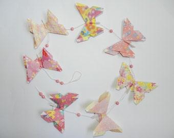 Garland of Pink Butterflies in origami