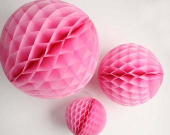 Pink tissue honeycomb balls - 12, 8, and 5 inch. Pink tissue honeycombs. Rose pink party decor. Pink party decoration. Pink tissue decor