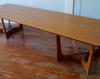 Beautiful Sculptural Mid-Century Modern Coffee Table in Walnut w/ Sculptural Bases - Professionally Refinished!