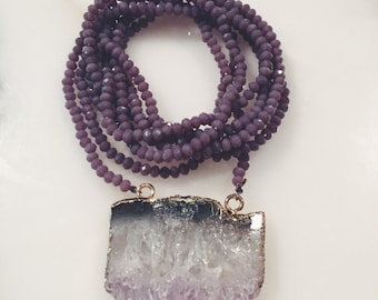 Purple beaded wrap necklace with ameythst pendant