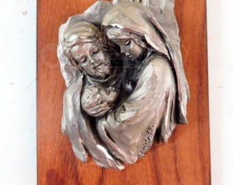 Mary Joseph Jesus Metal Relief Sculpture Italy