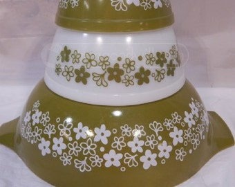 Three Spring Blossom Green Pyrex Dishes