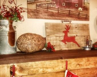 Reclaimed wood Deer christmas sign decor