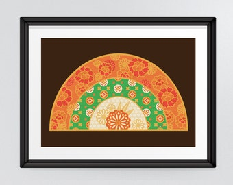 Japanese inspired fan art, oriental art print, Asian influence, dark brown, orange, green and gold, INSTANT DOWNLOAD