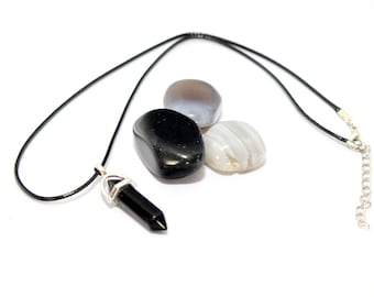 Black Crystal Point Necklace