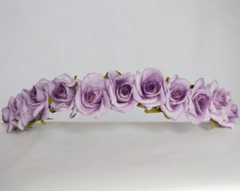 Floral Crown Flower Hairband Headband - Lilac Purple Two Tone Roses Wedding Festival Bridesmaid Flowergirl Special Occasion