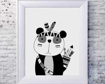TRIBAL PANDA Wall Art / Kids Room Decor/ Kids Wall Art / Nursery Wall Art / PANDA Print Monochrome print