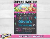 """Shopkins invitation, Shopkins birthday invitation, chalkboard Invitation, party Invitation. 4x6"""" and 5x7"""" sizes! Inv #1"""