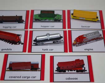 Train Montessori 3-part cards--Montessori early learning educational material--Transportation