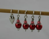 Sweetheart - Red & Pink Stitch Markers - Set of 5