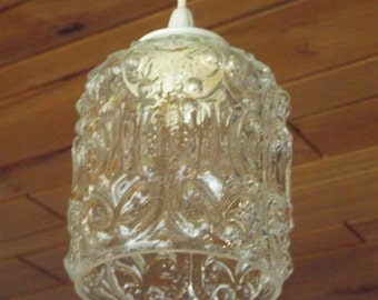Lamp hanging glass of 1970 / Suspension French vintage / lamp ready to ask / new electricity