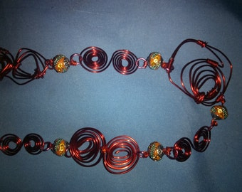 Orange wire wrapped necklace