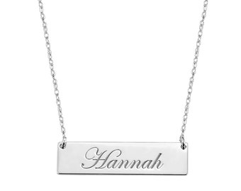 Engravable 1.25 inch Name Bar Necklace in 925 Sterling Silver
