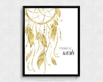 SALE -  Make A Wish, Dreamcatcher, Faux Gold Foil Texture, Gold Art Poster Print, Native Feathers, Baby Girl Nursery, Dorm Wall Art