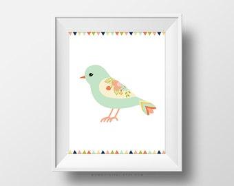 SALE -  Light Blue Bird, Cyan Blue, Floral Flower, Bird Illustration, Baby Girl Nursery, Girl Playroom, Dorm, Modern, Colorful