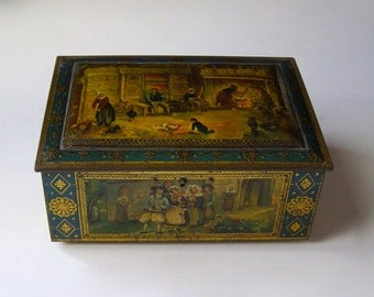 box Tin 1920s - box Tin Art Deco - french Biscuit Tin - box cookie Carnaud - France - french Art Dec - collector's tin