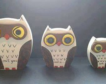 Handcrafted owl set