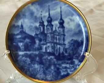 """Blue and White 4"""" Souvenir """"Season's Greetings"""" AK Kaiser, W Germany"""