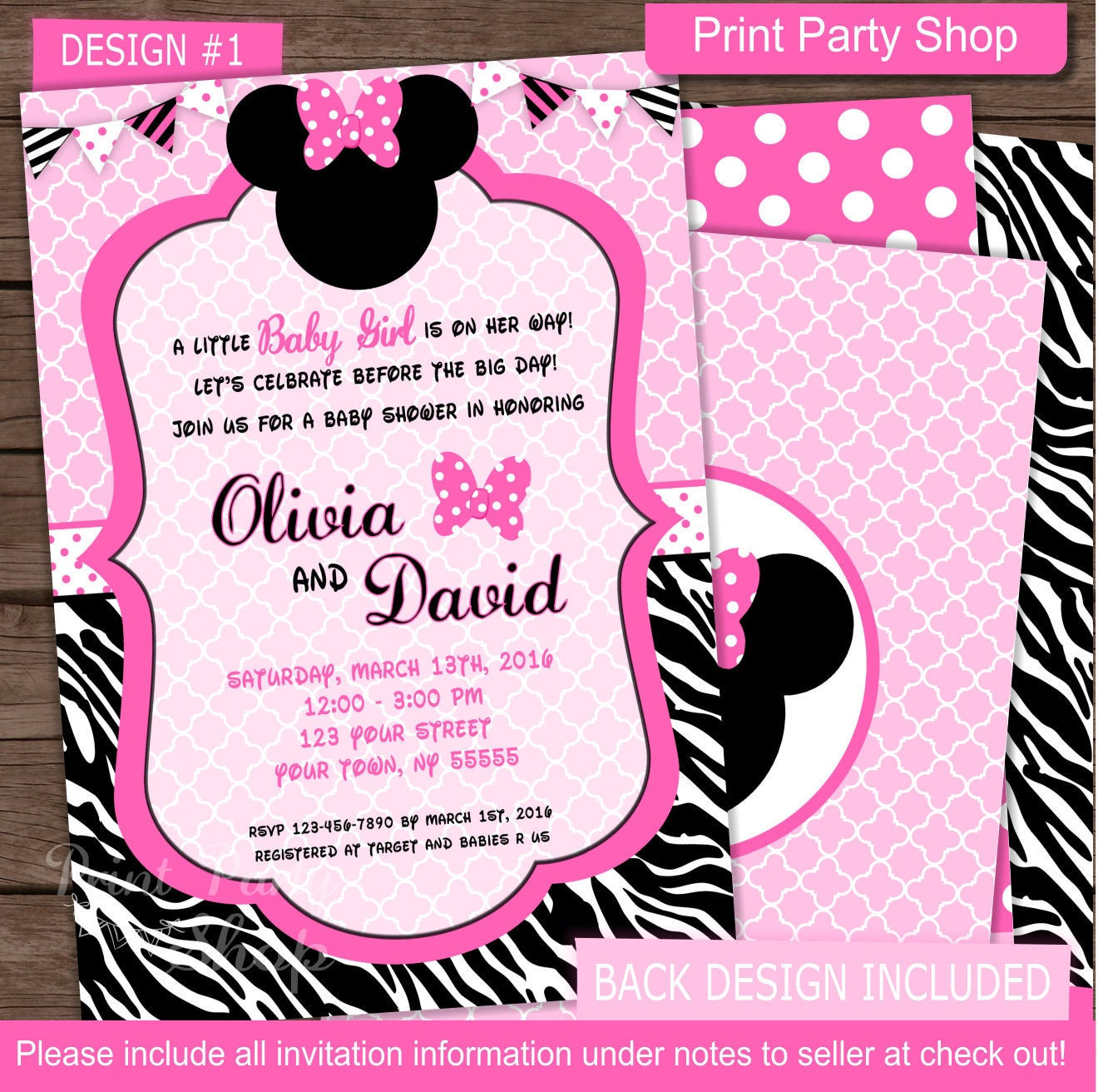 minnie mouse baby shower invitation baby shower invitation