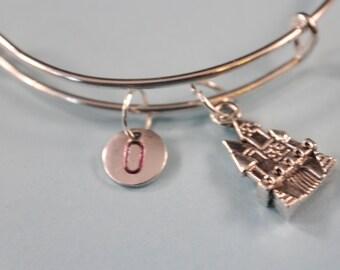 Castle Bangle, Fairy Tale Castle, Medieval Castle, Expandable Bangle, Personalized Bracelet, Charm Bangle, Monogram, Initial Bracelet
