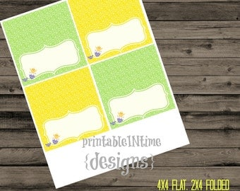 Easter tent cards- chick hatching tent card- chicks- green- yellow- instant download