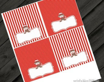 Sock monkey labels- tent cards- sock monkey birthday- striped- instant download