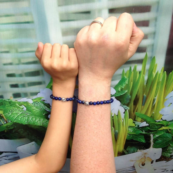 Like father, like son! Natural (men) beads bracelets lapis lazuli & glass / small skull