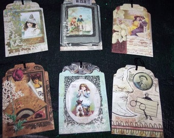 SIX Vintage Memories Days Gone By Scrap Booking Hang Tags / Gift Tags