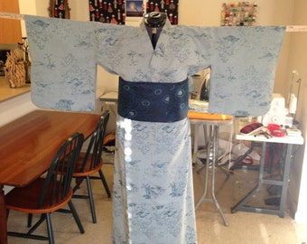 Women's Blue and Grey Synthetic Blend Kimono #054
