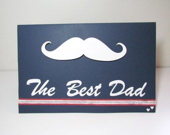 """DIY """"the best dad""""  """"happy father's day"""" handmade greeting card,moustache card by YJMai"""