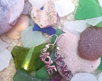 Hanging love earrings