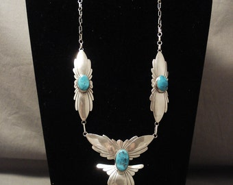 Cute Vintage Navajo Fabulous Silver Wings Turquoise Necklace Old