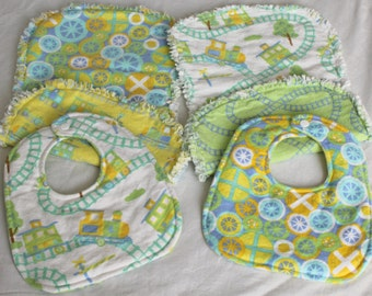 Reversible Baby Bib & Burp Cloth Gift Set - Gender Neutral