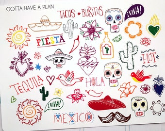 Planner Stickers Hand Drawn Fiesta/Cinco De Mayo/Day of the Dead Holiday Collection for Erin Condren, Happy Planner, Filofax, Scrapbooking