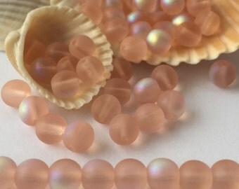 Czech Glass Matte Rosaline / Soft Pink AB Round Beads 6mm - 50 pieces
