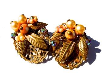 VINTAGE: Filigree Flower Clip on Earrings - Gold Earrings - (12-A4-00004412)