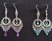 Boho\tribal silver beaded earings in purple and turquoise.