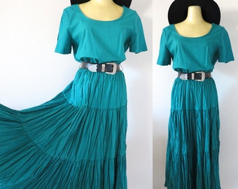 Vintage Tiered Teal Western Midi Dress with Belt