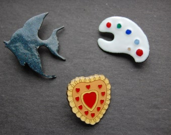 3 Vintage Enamel Brooches: Heart, Fish, and Painter's Palette